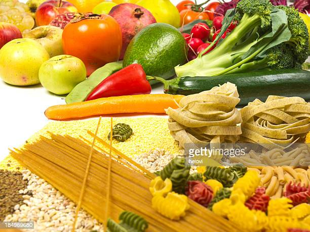 Assortment of healthy vegetables and pasta.