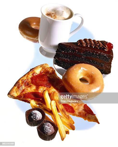 assortment of junk food - unhealthy eating stock pictures, royalty-free photos & images