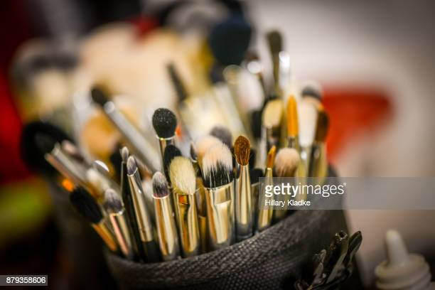 assortment of makeup brushes - art and craft equipment stock pictures, royalty-free photos & images
