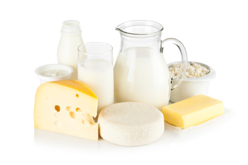 Assortment of most common dairy products on white backdrop 155373465