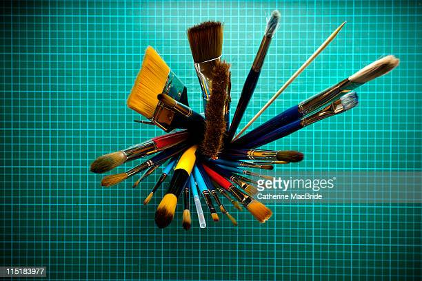 assortment of paint brushes - catherine macbride stock pictures, royalty-free photos & images