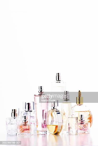 assortment of perfume bottles - perfume stock pictures, royalty-free photos & images