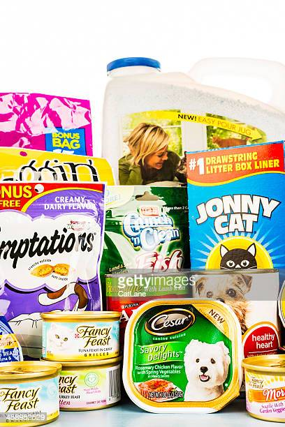 assortment of pet food and products - litter box stock photos and pictures