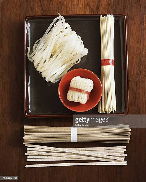 Assortment of raw Asian noodles