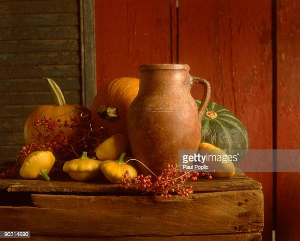 Assortment of squash with rustic jug