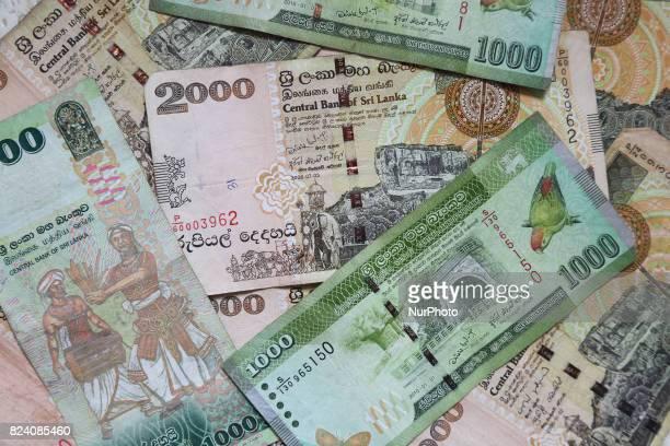 Assortment of Sri Lankan rupee banknotes
