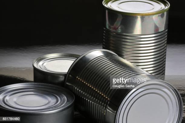 Assortment of tin food cans