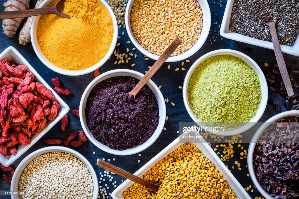 Assortment of various types of superfoods : Stock Photo