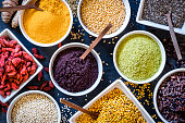 Assortment of various types of superfoods