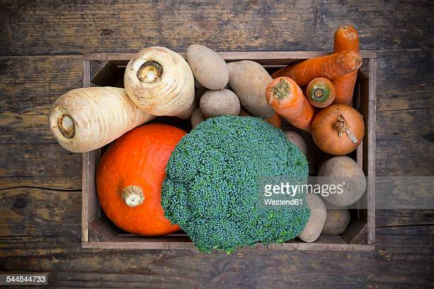 Assortment of vegetables in crate