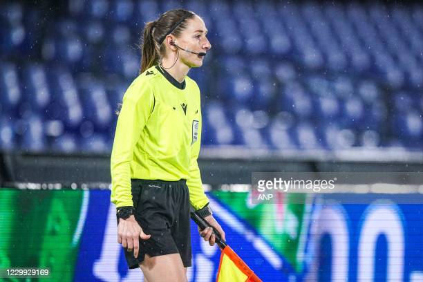 Asssitent referee Sian Massey during the UEFA Europa League match between Feyenoord and Dinamo Zagreb at the Kuip on December 03, 2020 in Rotterdam,...