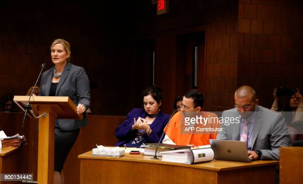 Asst Michigan Attorney General Angela M Povilaitis speaks during the hearing of former Michigan State University and USA Gymnastics doctor Larry...