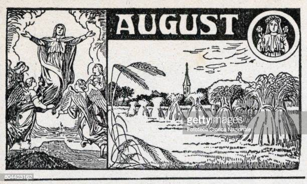 Assumption of Mary in the full of summer fields with wheat sheaves zodiac sign of the Virgo Header sheet for the month June in a German almanac...