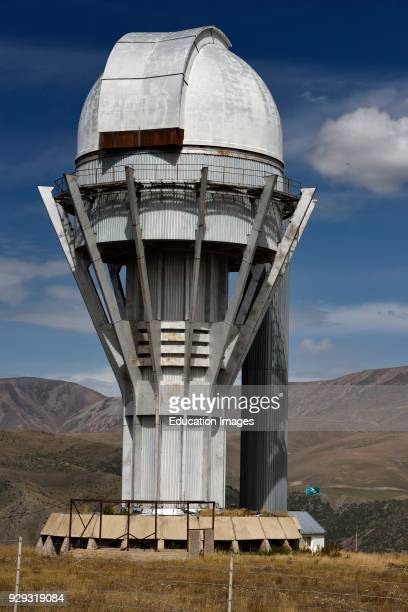 Assy astronomical observatory telescope tower on the mountain plateau of Assy Turgen Kazakhstan