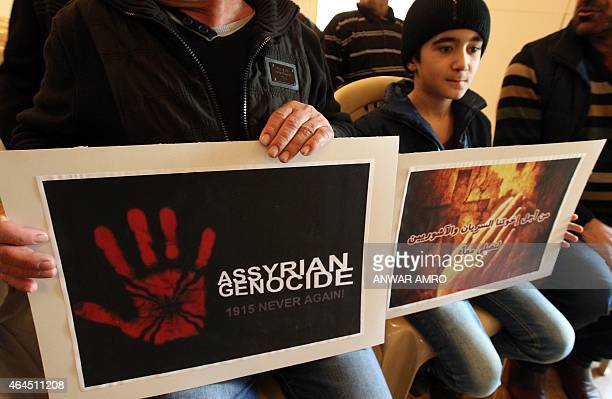 Assyrian Christians who had fled the unrest in Syria and Iraq attend a prayer for the 220 Assyrian Christians abducted by Islamic State group...