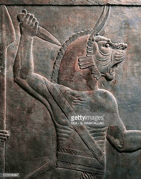Assyrian civilization 7th century bC Relief depicting figure of guardian lion From Nineveh Iraq Detail