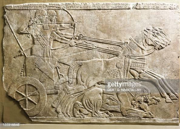 Assyrian civilization, 9th century b C  Gypsum relief depicting king