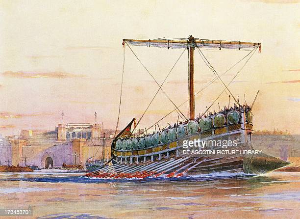 Assyrian galley watercolour by Albert Sebille Paris Bibliothèque Des Arts Decoratifs
