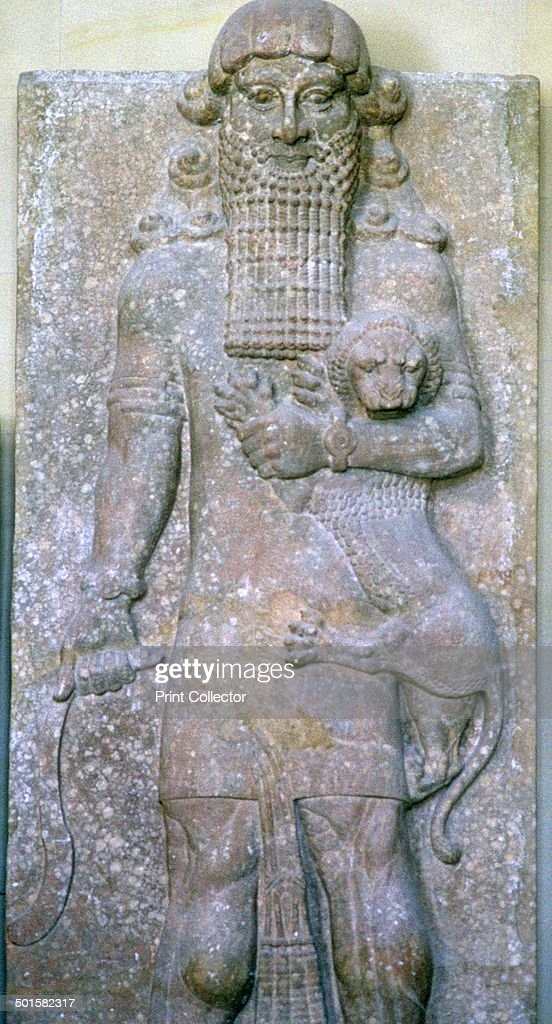 Assyrian relief of Gilgamesh and a lion. : News Photo