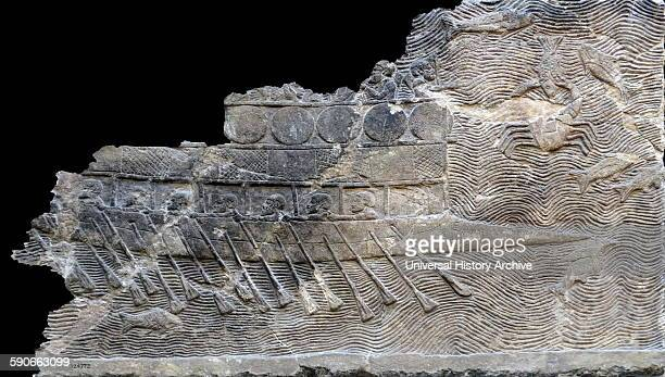 Assyrian relief Warship It is a bireme with two rows of oars about 700692 BC From Nineveh SouthWest Palace