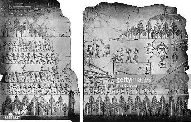 Assyrians moving a winged bull c7th century BC A print after a 19thcentury drawing from Layard's Monuments of Nineveh of a basrelief in the British...