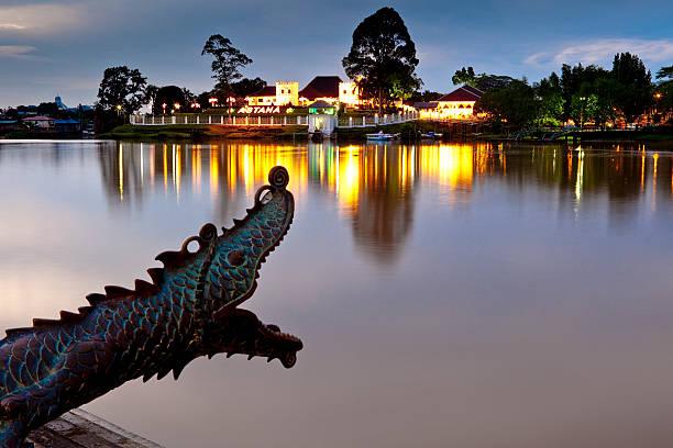 Astana and sculpture on banks of Sungai Sarawak.