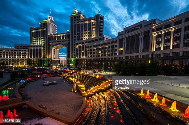 astana at night - kazakhstan stock pictures, royalty-free photos & images
