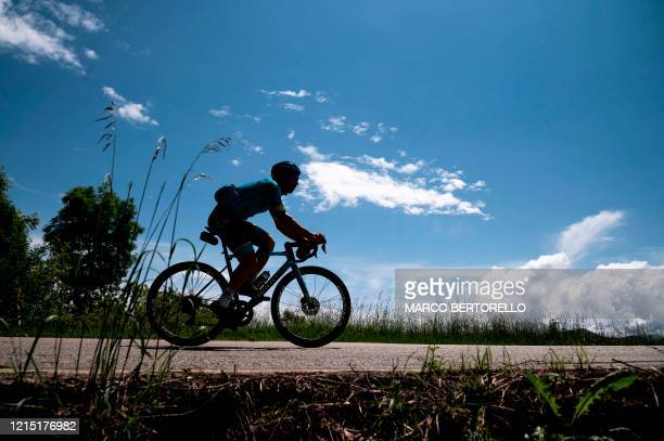 Astana cycling team Italian rider Fabio Felline rides his bicycle during a training session on May 17 in Lanzo Valley, near Turin, Piedmont, as the...