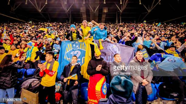 FK Astana fans watch from the stand during the UEFA Europa League group L match between FK Astana and Manchester United at Astana Arena on November...