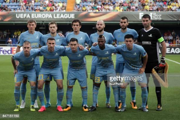 FC Astana lines ups during the UEFA Europa League Group A football match between Villarreal CF vs FC Astana at La Ceramica stadium in Villarreal on...