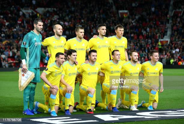Astana pose for a team photograph during the UEFA Europa League group L match between Manchester United and FK Astana at Old Trafford on September 19...