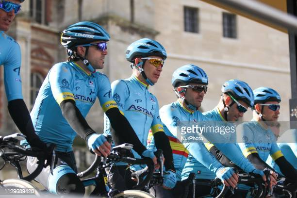 Astana Pro Team cycling team poses during the team's presentation at the start of the 1385km 1st stage of the 77th ParisNice cycling race between...