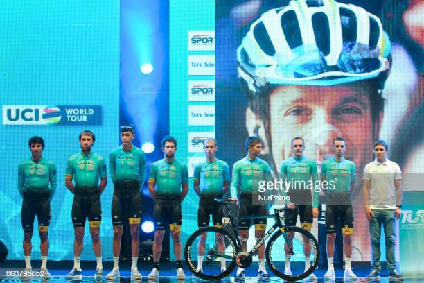 Astana Pro Team with an image of Astana rider Michele Scarponi who has died on 22 April 2017 after a collision with a truck while out on a training...