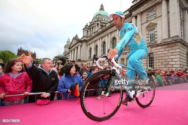 Astana Pro Team's Michele Scarponi rides out for the team presentations
