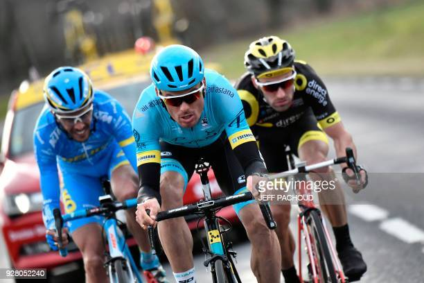 Astana team Spanish rider Luis Leon Sanchez DelkoMarseille team French rider Remy Di Gregorio and Direct Energie team French rider Jonathan Hivert...