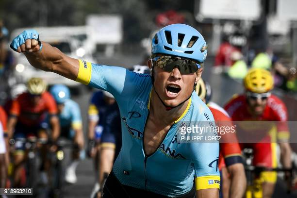 UCI Astana team's Danish rider Magnus Cort Nielsen celebrates as he crosses the finish line to win the fourth stage of the cycling Tour of Oman...