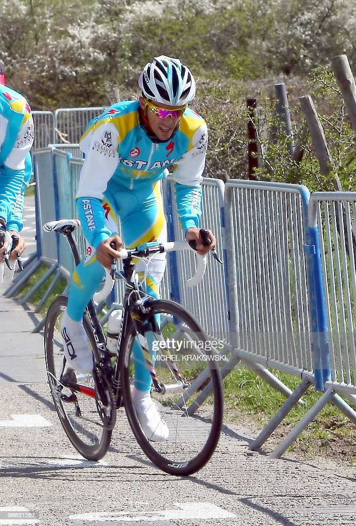 Astana's Alberto Contador of Spain rides during a training session at la Cote de la Redoute in Remouchamps on April 23, 2010, ahead of the one-day cycle race Liege-Bastogne-Liege. The international cycle race Liege-Bastogne-Liege is due to take place on April 25, 2010 and follows a straightforward 95 km route from Liège to Bastogne.