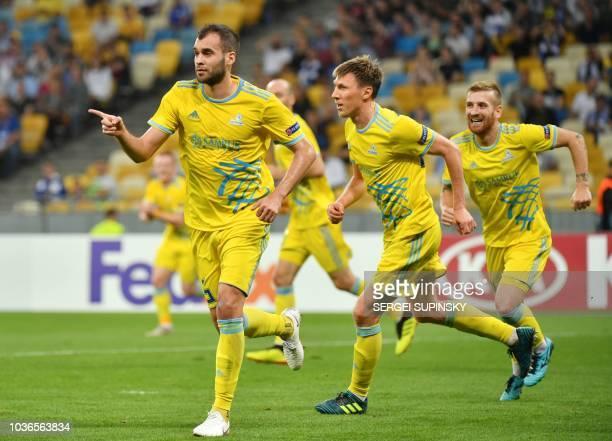 Astana's Bosnian defender Marin Anicic celebrates after scoring during the UEFA Europa League Group K football match between FC Dynamo and FC Astana...