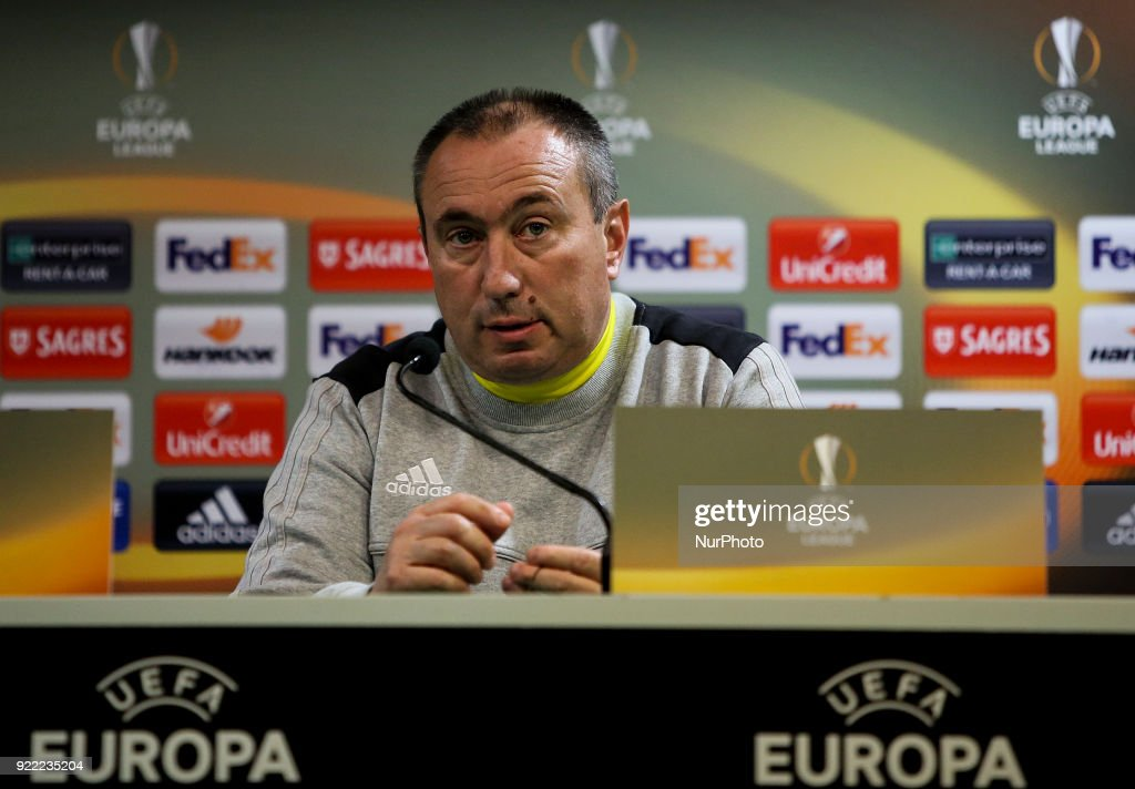 Astana's coach Stanimir Stoilov gives a press conference in Lisbon on February 21, 2018 on the eve of the UEFA Europa League round of 32 second leg football match between Sporting CP and FC Astana.