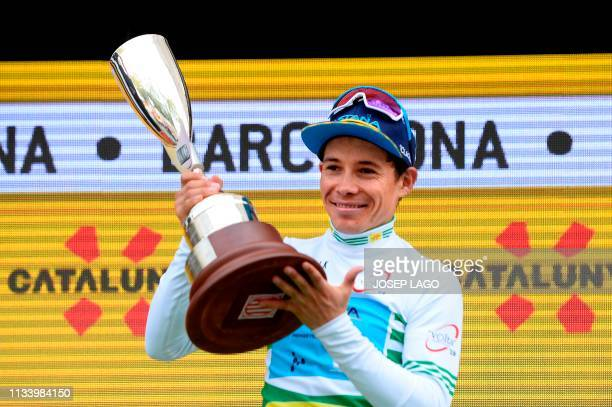 Astana´s Colombian Miguel Angel Lopez overall leader celebrates next after winning the 99th Volta Catalunya 2019 on March 31, 2019 in Barcelona.