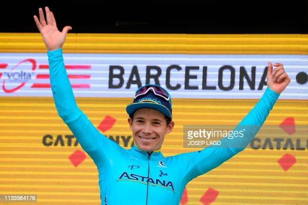 Astana´s Colombian Miguel Angel Lopez overall leader celebrates next after winning the 99th Volta Catalunya 2019 on March 31 2019 in Barcelona