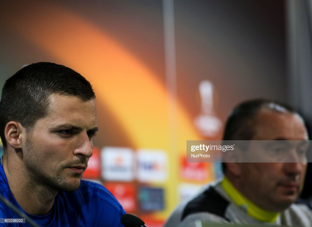 Astana's forward Djordje Despotovic (L) gives a press conference next to Astana's coach Stanimir Stoilov in Lisbon on February 21, 2018 on the eve of the UEFA Europa League round of 32 second leg football match between Sporting CP and FC Astana.