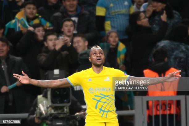 Astana's forward from DR Congo Junior Kabananga celebrates after scoring a goal during the UEFA Europa League Group A football match between FC...