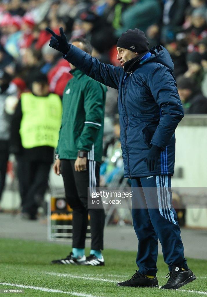 Astana's head coach Stanimir Stoilov reacts during the UEFA Europa League group A football match Slavia Prague vs Astana in Prague, Czech Republic, on December 7, 2017. PHOTO / Michal CIZEK