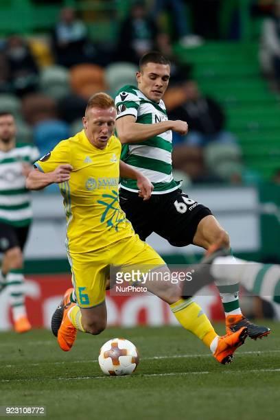 Astana's midfielder Laszlo Tleinheisler vies for the ball with Sporting's midfielder Joao Palhinha during UEFA Europa League round of 32 second leg...