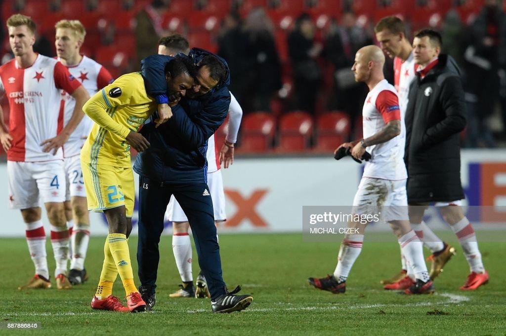 Astana's Patrick Twumasi celebrates after the UEFA Europa League group A football match Slavia Prague vs Astana in Prague, Czech Republic, on December 7, 2017. PHOTO / Michal CIZEK