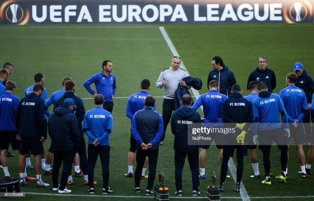 Astana's team in a training session in Lisbon on February 21, 2018 on the eve of the UEFA Europa League round of 32 second leg football match between Sporting CP and FC Astana. COSTA