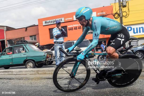 TOPSHOT Astana's team Miguel Angel Lopez competes during the 2018 Colombian National Cycling Time Trial Championships in Medellin Colombia on...
