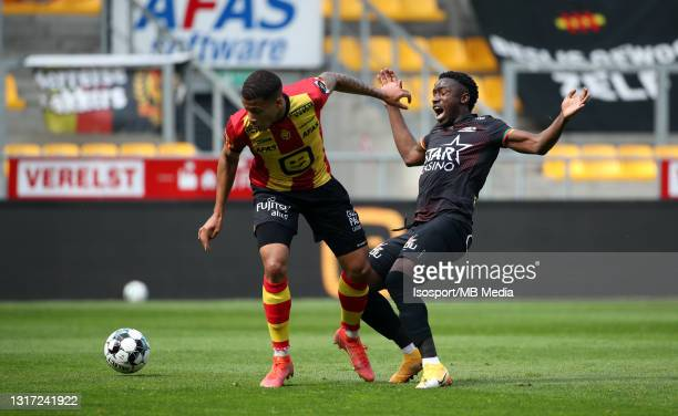 Aster Vranckx of KV Mechelen battles for the ball with Fashion Junior Sakala of KV Oostende during the Jupiler Pro League Europe play-offs match day...