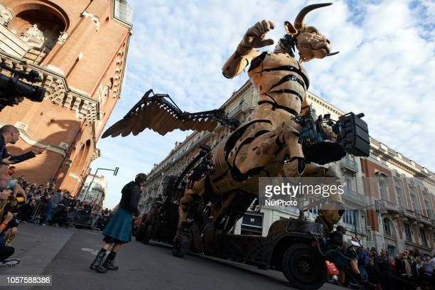 Asterion the Minotaur rears up near the 'Les Augustins' museum in ToulouseHundreds of thousands came to see the final act of the show 'Le Gardien du...